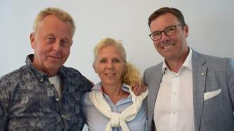 Från vänster: Per Lindquist Omberg, VD Eko Fisk, Heli Lundin, CFO Eko Fisk och Jonas Köhler, VD Menigo.