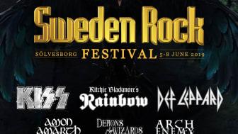 KISS: Enda Sverigestoppet under avskedsturnén blir på Sweden Rock Festival 2019.