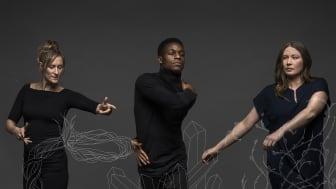 Tre koreografer; Anna Öberg (tv), Brian Madika (mitten), Mira Mutka (th). Foto Alexander Crispin.