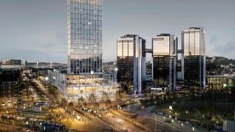 Det vinnande bidraget i gestaltningstävlingen för projektet +One har en tredelad komposition med en inbjudande terrass, ett torn som samspelar med staden och en karaktäristisk toppkrona som utmärker sig. Bildrättigheter: Tham & Videgård Arkitekter.