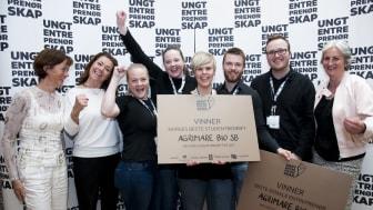 AgriMare Bio SB fra NTNU i Ålesund har Norges beste Studentbedrift 2017. Foto: Ungt Entreprenørskap.