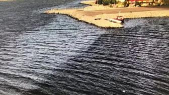 Kustbevakningen har gjort en överflygning av området under torsdagen och har inte hittat någon olja till havs. Foto: Räddningstjänsten Piteå Älvsbyn