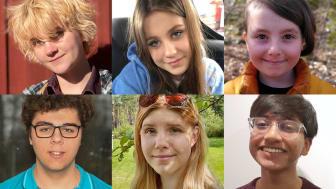 De sex vinnarna i skrivtävlingen Unga skriver för unga. Överst fr v: Elisa Tallec, Astrid Rimm, Elmi Stenkvist Manen, Dario Raffaelli, Ida Stärning, Tiyash Tasneem