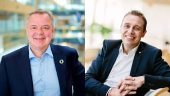 Odd Arild Grefstad, konsernsjef i Storebrand, og Christian Chramer, direktør for Medlem og Region i NHO. FOTO: Lise Eide Risanger, Storebrand / Moment Studio NHO