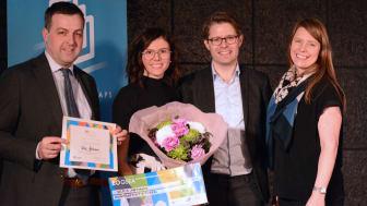 Årets studentföretagare  2017 har utsetts. På bilden  fr vänster Johan Eklund vd Entreprenörskapsforum, vinnaren Vera Antonov, grundare av företaget Bfree, Carl Johan Renvall Triton Advisers och Anna Bünger avdelningschef Tillväxtverket.