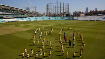 50 Days To Go. Players from all eight The Hundred teams pose with 100 Dynamos participants to mark 50 days to go until the competition starts.