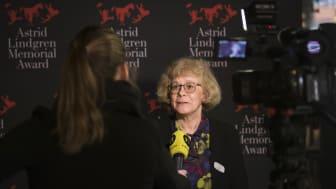Juryns ordförande Boel Westin vid tillkännagivandet 2019, foto Stefan Tell