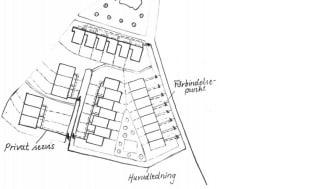 Rapportframsidesbild: Ett uppdiktat bostadsområde med utritade servisledningar (ritad av Emma Lundin).