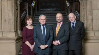 l-r – Lucy Winskell OBE, Sir Geoffrey Voss, His Honour Judge Kramer, Vice Chancellor Mr Justice Barling