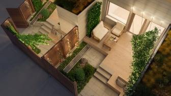Illustrationsbild av altan och trädgård till HSBs radhus i Vallastaden
