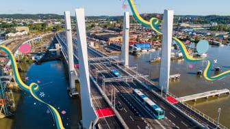 Efter sommarens invigningsperiod blir Hans Majestät Konung Carl XVI Gustaf den siste att inviga Hisingsbron. Bild: Max Hjalmarsson.