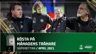 Superettan: Nominerade till Månadens spelare och Månadens tränare för april