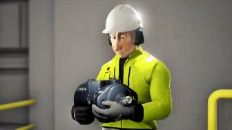 Mann med mekanisk utstyr