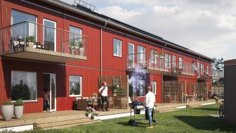 Illustration av trädgårdssida med balkonger & altaner, BoKlok Mellstagården, Borlänge.