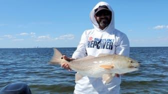 Image - Mastry Engine Center - Captain Travis Yaeckel, of the Ruskin-based Instinct Fishing Company, during the full day of inshore fishing on Tampa Bay with prize winner Mathew Cobb