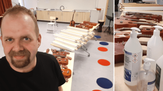 Med färre elever åt gången och handsprit mellan varven kan Anders Larsson lära ut stränginstrumentet hummel i Ljungby.