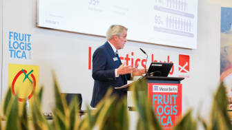 Colin Wells, global head of industry vertical perishables speaking at Fruit Logistica 2018 in Berlin. (Photo by Panalpina)