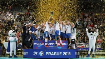 Suomen miesten salibandymaajoukkue voitti maailmanmestaruuden 2018. Lehtikuva / Ville Vuorinen