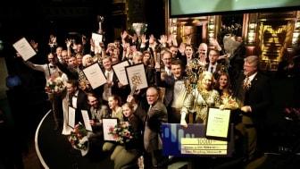 Samtliga vinnare samlade på Berns scen. Bild: Mikael Gustavsen