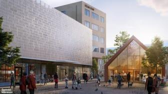 Den 29 augusti inleds den tre dagar långa invigningsfesten av nya Selma Lagerlöfs Torg. Vy över handelshuset samt Fiskhuset. Bild: Semrén+Månsson Arkitekter.