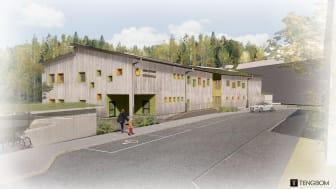 Rödklöverns Förskola har ett skogstema och ligger intill Jakobsbergsskogen i Karlstad. Bild: Tengbomgruppen