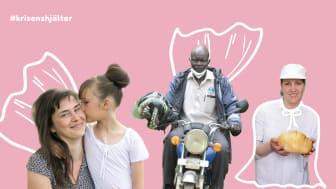 Maria, Kajura och Natalia - tre hjältar hos Erikshjälpens partnerorganisationer som kämpar för att ge barn trygghet i coronakrisen.