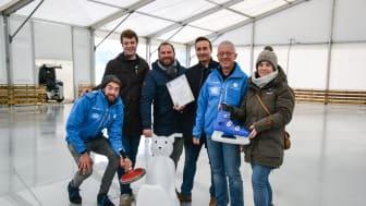 Die Macher des Stadtwerke Eisfestivals sind guter Dinge: v.li. Paul Frost, Julius Rabe, Johannes Hesse, Sönke Schuster, Thomas Hein, Kathrin Groß