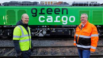 Från vänster: Oskar Stenstrøm, Godsdirektör på Bane NOR  & Bengt Fors VD Green Cargo Norge.
