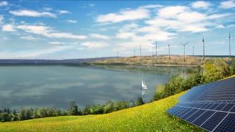 Simulation zur Erneuerbaren-Nachnutzung ehemaliger Braunkohleflächen. Bild: Greenpeace Energy eG