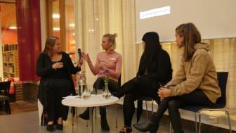 Camilla Bergvall (samtalsledare), FemHbg, Emma Cotterill, Frälsningsarmén Helsingborg,  Ida, #intedinhora, och Maria Ahlin, Changing attitudes.