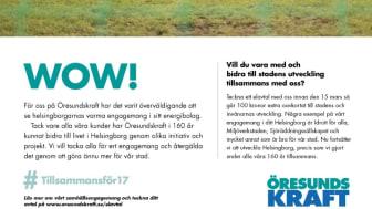Annons från Öresundskraft som tackar för medborgarnas engagemang i frågan om försäljning av företaget.