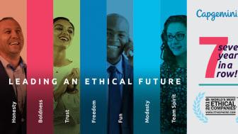 Capgemini uppmärksammas som ett av 2019 års mest etiska företag