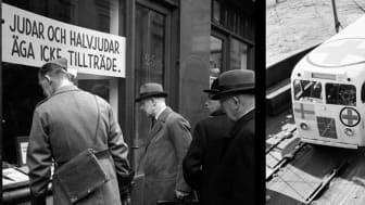 Einar Åbergs bokhandel i Stockholm i oktober 1941 och Vita bussarna anländer till Malmö hamn i maj 1945. Fotografier från Karl Sandels samling, Historisk Bildbyrå och KW Gullers, Nordiska museet.