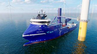 REM Offshore AS har skrive kontrakt med Green Yard Kleven i Ulsteinvik om å bygge eit havvindfartøy. Skipet er designet av Havyard Design & Solutions AS og er av typen «HAVYARD 833 CSV». Illustrasjon: Havyard Design & Solutions AS