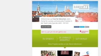 Auf der Spenden-Plattform www.gut-fuer-muenchen.de werden am Donnerstag, 12. Juli eingehende Spenden von der Stadtsparkasse München verdoppelt.