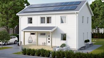 NIBE Energy Systems solcellspaneler på Villa Markaryd från Smålandsvillan