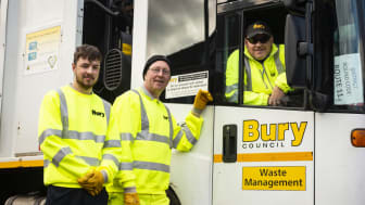 Crew members (from left) Thomas Nolan, Michael Wilkinson and driver David Edwards.
