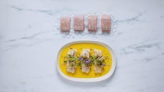 Sei er ypperlig sommermat. Her med gressløk og gresskarpuré. Foto: Studio Dreyer-Hensley.