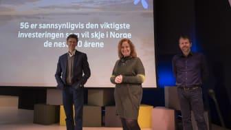 Telenor røpet i dag planene for 5G. Fra venstre: Petter-Børre Furberg, Ingeborg Øftshus og Ric Brown. Foto: Martin Fjellanger