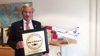 CEO Bjørn Kjos thanks both passengers and Norwegian employees for the Norwegian's Skytrax awards 2015