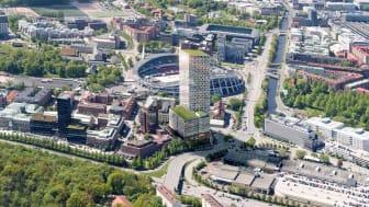 Skanskas Citygate i Gårda blir Nordens högsta kontorshus och kommer att drivas med lokalproducerad el från Göteborg Energis solcellspark i Utby. Illustration: Skanska