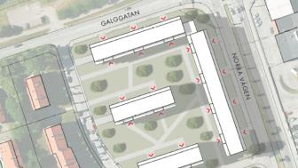 Skissbild över kommande byggnation på Tranan 4.
