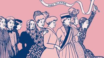 Utställningen Rösträtt för kvinnor är baserad på Sara Telemans bok med samma namn. Illustration: Sara Teleman.