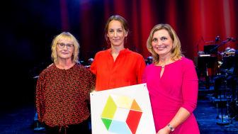 Civilminister Lena Micko delar ut utmärkelsen Sveriges Modernaste Myndigheten till Åsa Olsson och Inger Ek, Upphandlingsmyndigheten