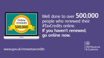 Record 500,000 people renew tax credits online