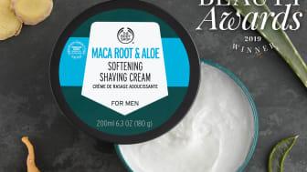 Maca Root & Aloe Softening Shaving Cream for Men vinner pris för Bästa Groomingprodukt.