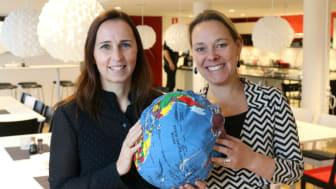 Therese Berg (t v) blir ny hållbarhetschef på Riksbyggen och Charlotta Szczepanowski chef för Riksbyggens enhet för hållbar utveckling.