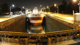 MoorMaster™ at night in the St. Lawrence Seaway