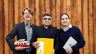 Ola Mårtensson, Jonas Lindström och Marcus Wigren från LogTrade Technology