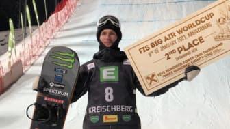 Sven Thorgren tar en andraplats i big airvärldscupen i kreischberg, Österrike Bild Jocke Hammar SSF
